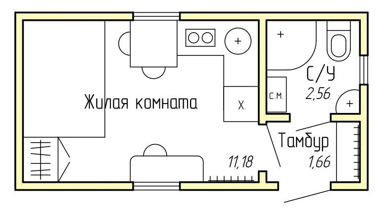 Каркасный дом - студия КД-15