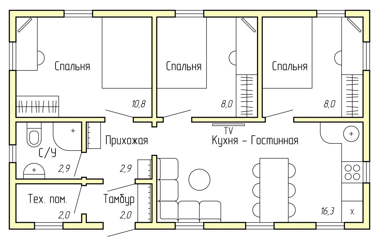 Каркасный дом КД-50