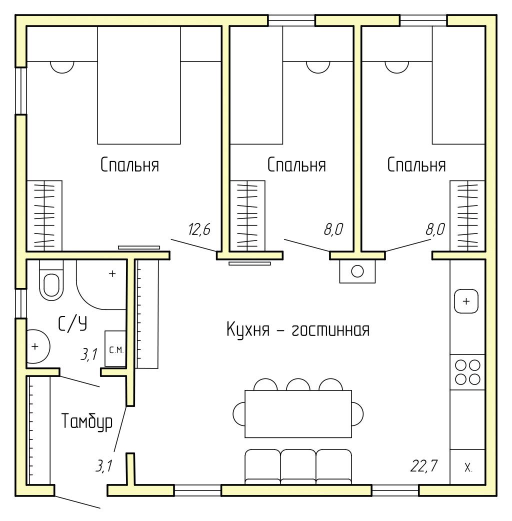 Каркасный дом КД-60